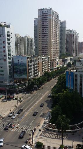 俯视惠州下埔道路和建筑