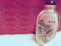 古风手绘水墨瓶子