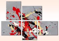 五联拼套组合抽象画