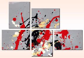 现代涂鸦五联抽象油画