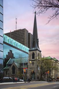 渥太华教堂街道傍晚
