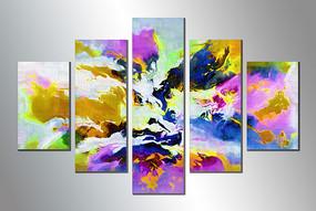 五联抽象无框画装饰画现代简约