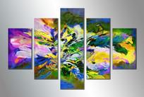 五联装饰画抽象画