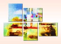 现代艺术五联无框画