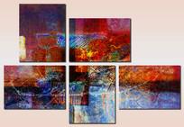 极简风格色块抽象油画