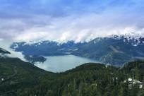 云雾湖泊雪山原始森林