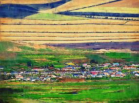 电脑画《田野村庄》