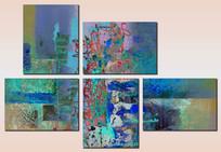 蓝色油画无框画