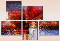 五联抽象油画无框画