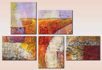 组合抽象油画无框画