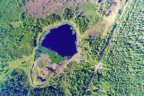 湿地湖泊风景 (航拍)
