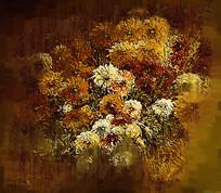 复古色调花卉抽象油画