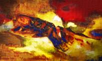 金色抽象油画风景