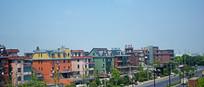 彩色的别墅群景观