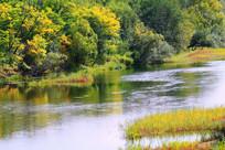 秋季河流彩林