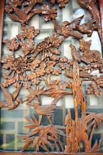 菊花和飞鸟纹理木雕