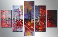 现代无框五联组合装饰画