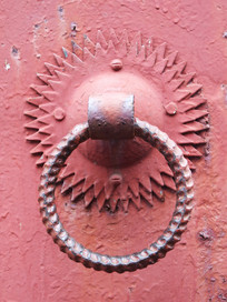 农村铁大门铁圆环把手