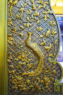 凤凰牡丹图铜艺浮雕