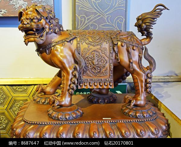 雄狮铜像工艺品雕塑图片