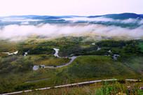 湿地草甸河流云雾