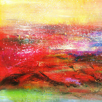 红色调抽象画