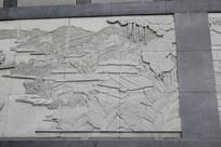 房屋树木山河场景图案浮雕