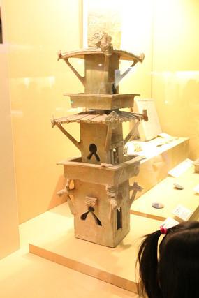 汉代碉楼造型粮仓土陶模型