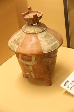 汉代锥形三足粮仓土陶模型
