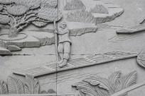 划船的人物雕刻
