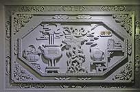墙壁上中国元素浮雕《清净》