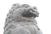 西安乾陵无字碑前石狮头部特写