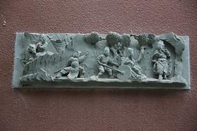 清代镂空雕刻戏曲人物石板