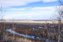 额尔古纳湿地初冬曲水