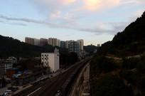 傍晚的贵阳铁路