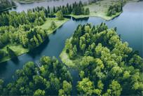 绿色森林和湖泊