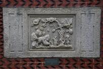 清代浮雕牡丹纹对联