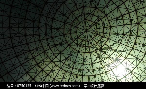 几何格子的玻璃楼顶图片