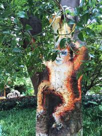 树干山的山猴绘画艺术