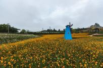 黄色鲜花与风车