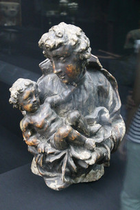 罗马尼亚圣母子红铜雕像