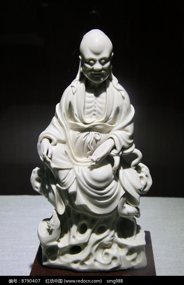 明代德化窑白釉寿星坐像图片