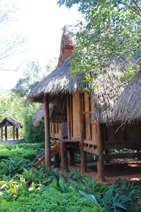 树林中的草棚木屋