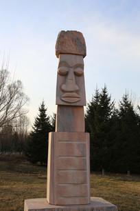 非洲领袖人头雕像
