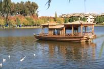 干净湖面上的游船与海鸥