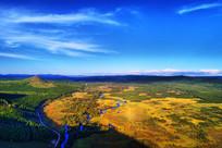 湿地河湾风景 (航拍)