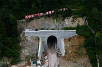 正在施工的高铁隧道口