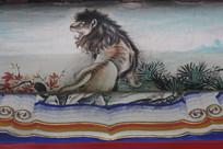 房梁彩绘画回头狮子