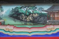 房梁彩绘画水边庭院