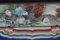 房梁彩绘画小桥流水村庄